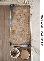 Place for cat living - Place with mat near boal with feed...