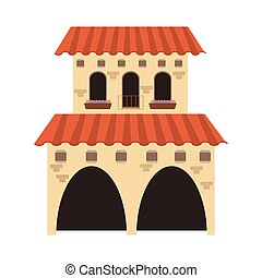 spanish colonial architecture icon - flat design spanish...