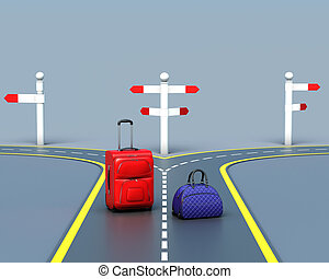 Bags make the choice of the road. 3d rendering