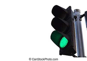 green color on the traffic light isolated on white...