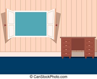 Cartoon style open window in a room