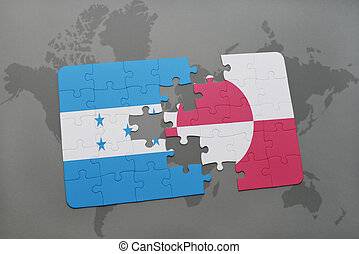 puzzle with the national flag of honduras and greenland on a...