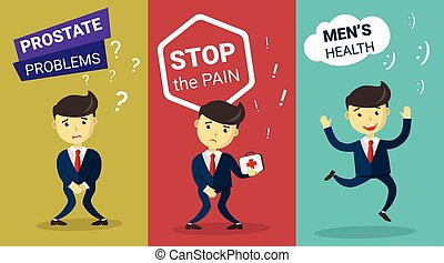 Prostate problem. Incontinence concept. Stop Cancer. Cartoon Man wants to pee and is holding his bladder. Infographic Men's health, medicine, cure, treatment. Flat design vector illustration