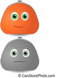 Vector illustration of two purses characters with faces. One...