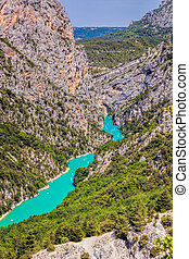 Amazing View Of The Gorges Du Verdon Canyon with boats in...