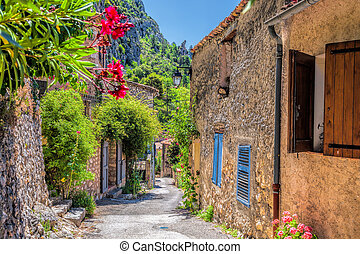 Moustiers Sainte Marie village with street in Provence,...