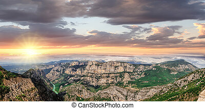 Amazing View Of The Gorges Du Verdon Canyon against colorful...
