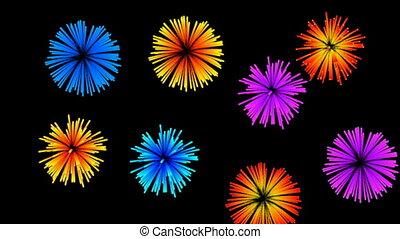 Multiple fireworks. CG
