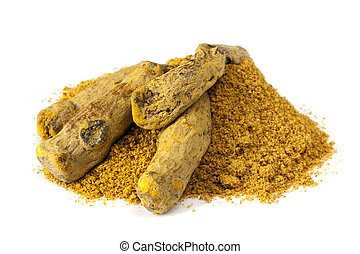 Turmeric root and powder, over white background.