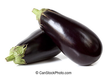 Eggplant - Two large eggplant, over white background.