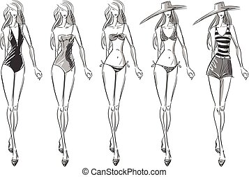 bikini catwalk, vector illustration