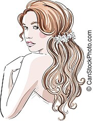 girl with bridal hairstyle