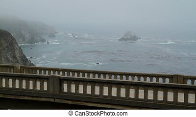 Road and ocean view California - PCH bridge closeup view...