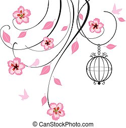 cage swirls - vector swirls with flowers, bird, cage