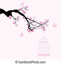 cherry with bird cage - vector cherry blossom with cage