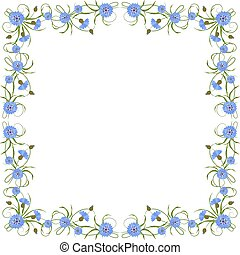 Frame with cornflowers and leaves. - Beautiful frame with...