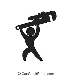 Wrench and pictogram silhouette icon Tool design Vector...