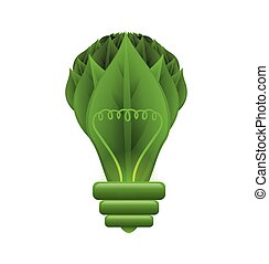 Green leaf anb bulb icon Nature and ecosystem design Vector...