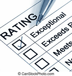 "Excellent Rating - ""Excellent\"" rating, with ballpoint pen...."