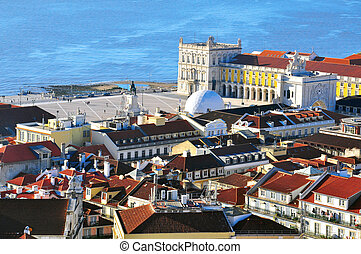 Lisbon downtown - Panorama of Lisbon downtown from Castelo.