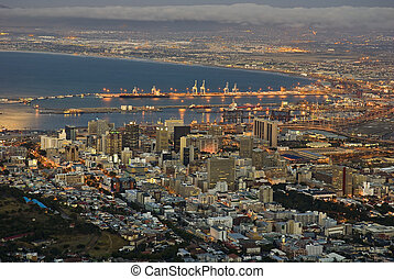 Cape Town at dusk - Cape Town city lights with the harbour...