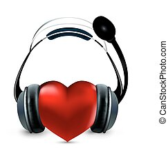 red heart with headphones