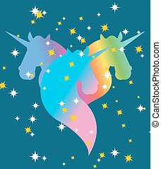Rainbow Unicorn. Starry blue sky. Symbol of LGBT community