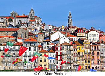 Oporto riviera multicolor houses, Portugal
