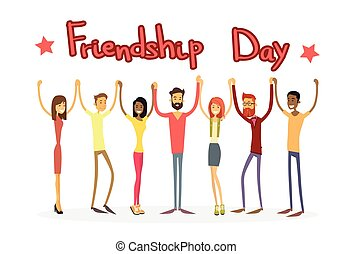 Young People Group Holding Hands Friendship Day Banner Flat...