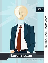 Business Man Light Bulb Head New Idea Flat Vector...