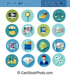 Banking Icon Set Colorful Collection
