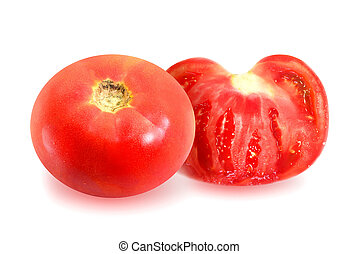 Photo red tomato and slice isolated on white background