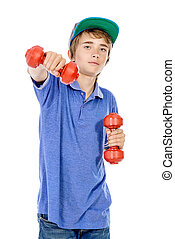 sports work out - Portrait of a teenager boy with dumbbells...