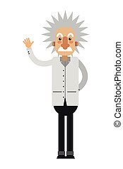 albert einstein cartoon icon - flat design albert einstein...