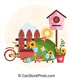 Big garden and farm set Illustration