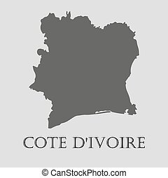 Gray Cote D'Ivoire map - vector illustration - Simple gray...