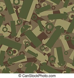Army texture of nuts and bolts. Soldier green camouflage ornament. mechanic Khaki background. Military seamless pattern