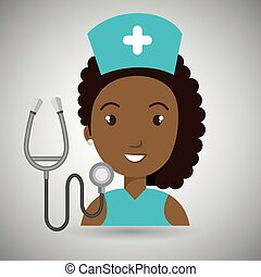 nurse medical stethoscope woman graphic vector illustration