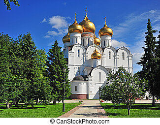 View of the Cathedral of Yaroslavl city, Russia