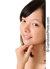 Natural closeup portrait of beauty of Asian with happy...
