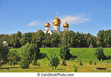Summer park in Yaroslavl old town, Golden park, Russia