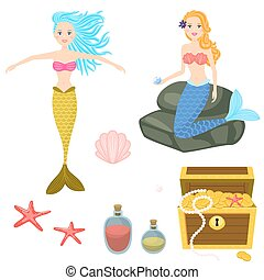 Cartoon mermaids and treasure dower chest clip art vector graphics for game.