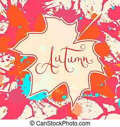 Autumn and maple leaf over paint background
