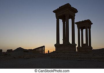 Historic ruins at Palmyra, Syria