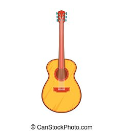 Guitar icon, cartoon style