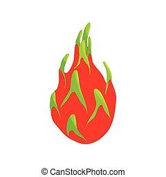 Dragon fruit icon, cartoon style