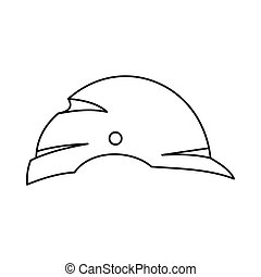 Construction helmet icon, outline style - Construction...