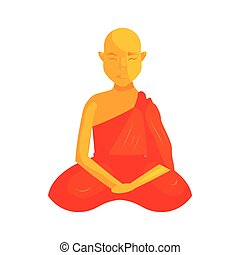 Buddhist monk icon, cartoon style - Buddhist monk icon in...