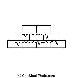 Brickwork icon, outline style - Brickwork icon in outline...