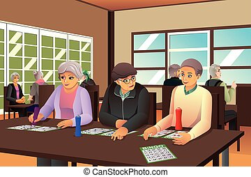 Elderly People Playing Bingo - A vector illustration of...